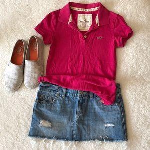 Hollister Hot Pink Short Sleeve Polo Shirt
